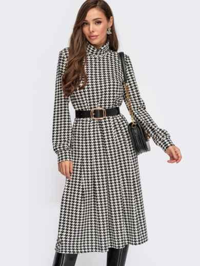 Платье в «гусиную лапку» с воротником-гольф черное 55406, фото 1