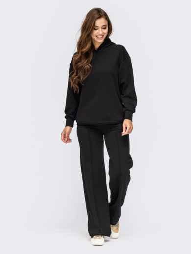 Черный костюм с худи и брюками на резинке 55312, фото 1