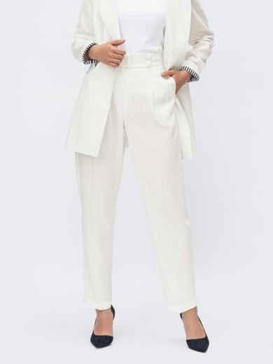 Льняные белые брюки с высокой посадкой 54096, фото 1
