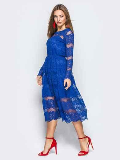 Коктейльное платье синего цвета из гипюра - 11245, фото 2 – интернет-магазин Dressa