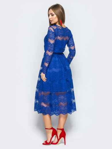 Коктейльное платье синего цвета из гипюра - 11245, фото 3 – интернет-магазин Dressa