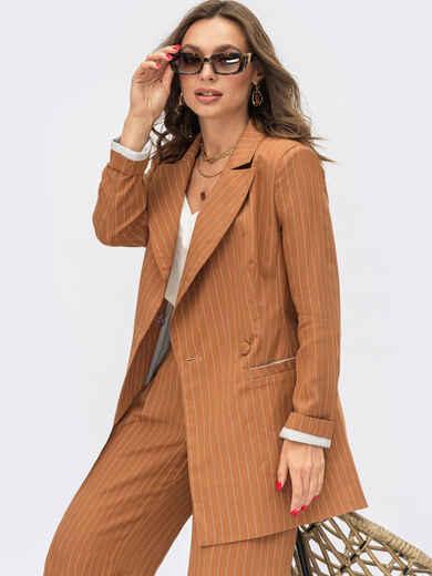 Коричневый двубортный пиджак из льняной ткани 54097, фото 1