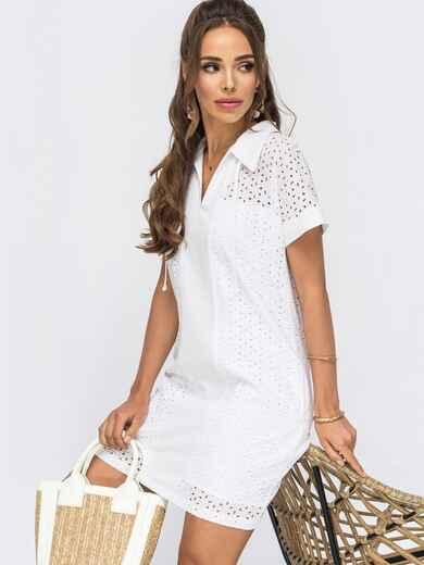Короткое платье-трапеция из прошвы белое 53993, фото 1