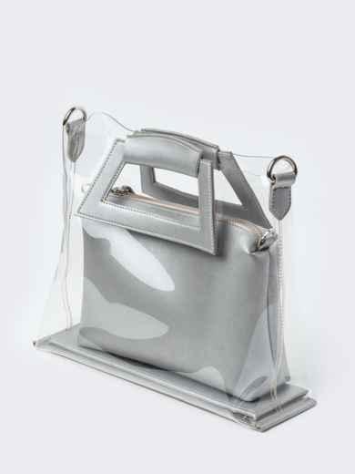 442e684d5d3b Прозрачная сумка со съемной косметичкой серебристого цвета - 22100, фото 2  – интернет-магазин