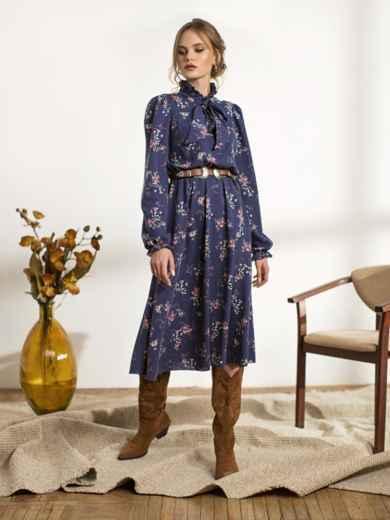 Синее платье с флористическим принтом 44240, фото 1