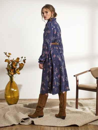 Синее платье с флористическим принтом 44240, фото 2