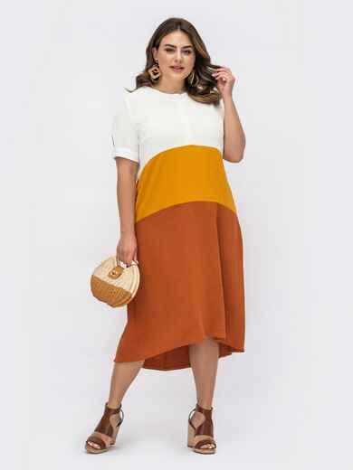 Терракотовое платье большого размера с пуговицами на лифе 54075, фото 1