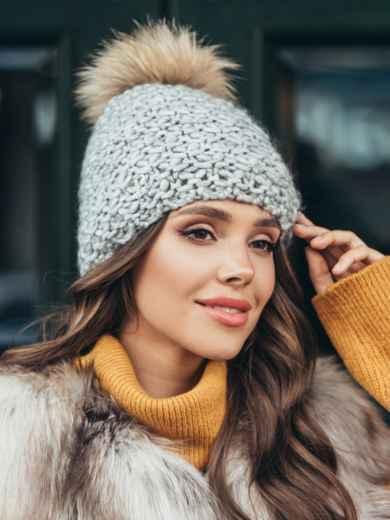 Зимова шапка з помпоном і флісовою підкладкою сіра 51101, фото 1