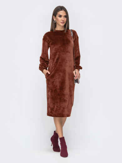 Платье прямого кроя из велюра терракотовое 50157, фото 1
