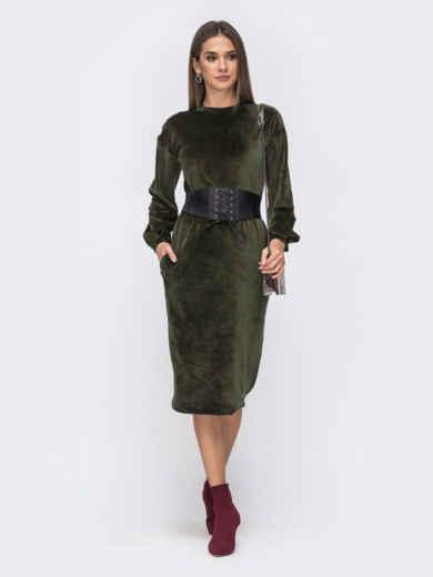 Платье прямого кроя из велюра хаки 50158, фото 1