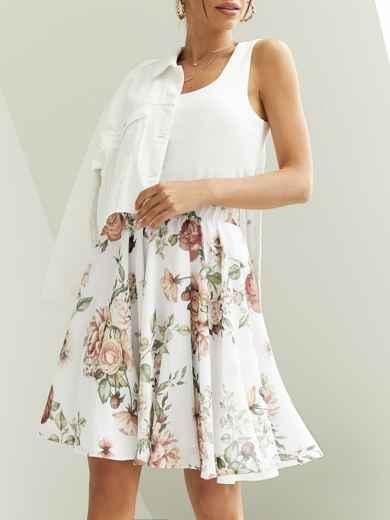 Шифоновая юбка-мини с цветочным принтом белая 53884, фото 1