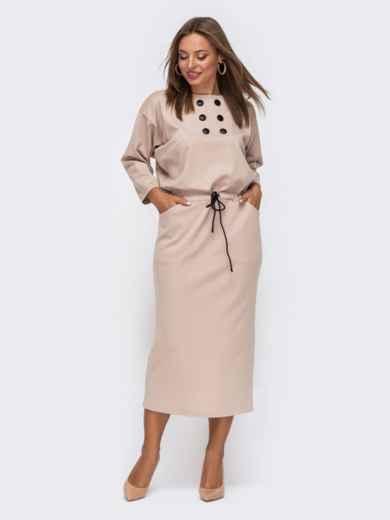 Бежевое платье-макси с кулиской по талии 51059, фото 1