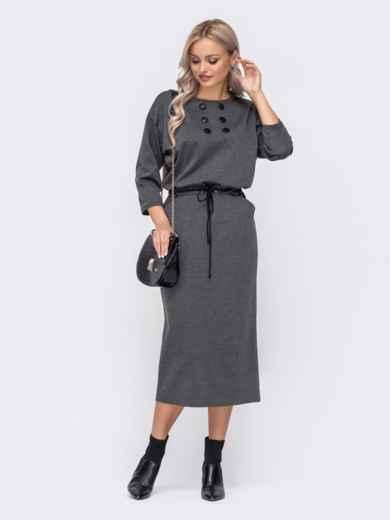 Серое платье-макси с кулиской по талии 51060, фото 1