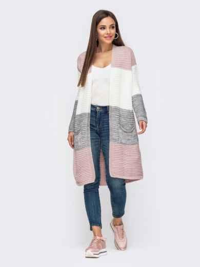 Розово-серый кардиган с карманами на полочке 54605, фото 1