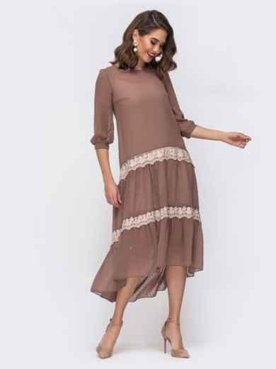 Бежевое платье из шифона в горох с удлиненной спинкой 42871, фото 1