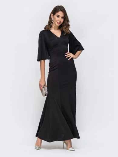 Чёрное платье-макси с расклешенным низом 42891, фото 1