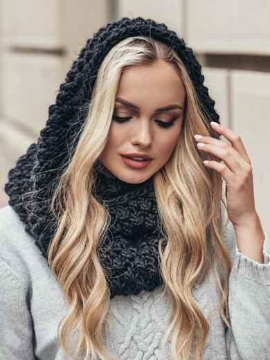 Черный снуд узорной крупной вязки - 15577, фото 1 – интернет-магазин Dressa