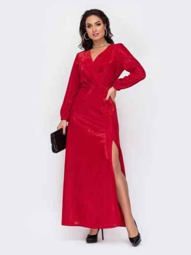 Длинное платье батал с люрексом и высоким разрезом красное 52221, фото 1