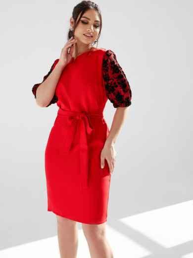 Красное платье батал с кружевными рукавами 53196, фото 1