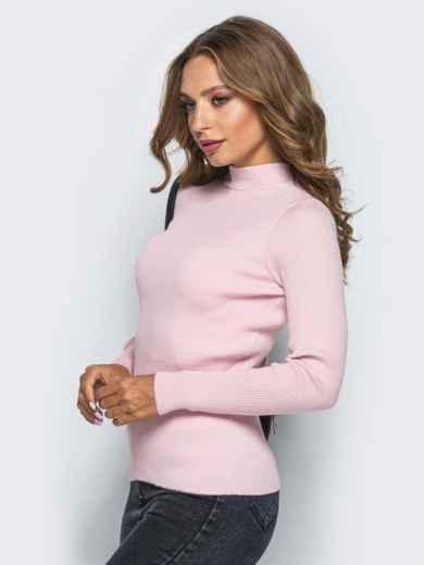 Нежно-розовый трикотажный гольф в рубчик - 15778, фото 2 – интернет-магазин Dressa