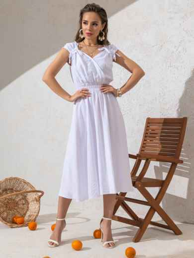 Платье белого цвета с расклешенной юбкой 49147, фото 2