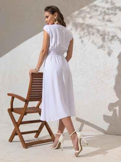 Платье белого цвета с расклешенной юбкой 49147, фото 4