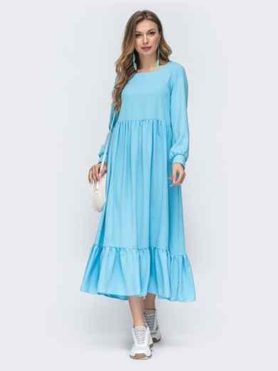 Платье голубого цвета с воланом по низу 45716, фото 1