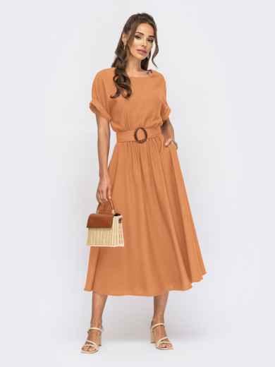 """Платье-клеш из льна """"жатка"""" с коротким рукавом оранжевое 54362, фото 1"""