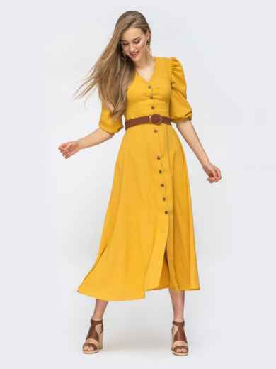 Платье на пуговицах с объёмными рукавами желтое 45718, фото 1