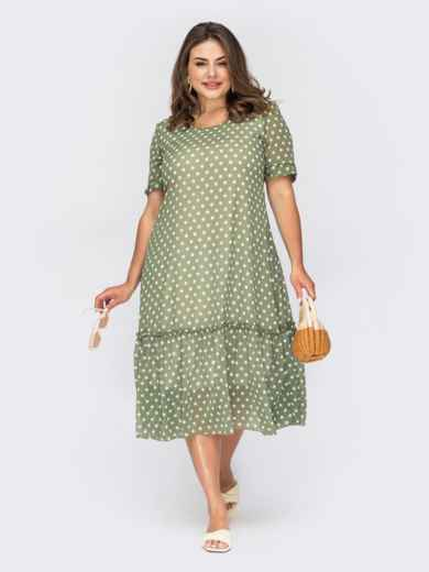 Шифоновое платье в горох зеленое 54000, фото 1