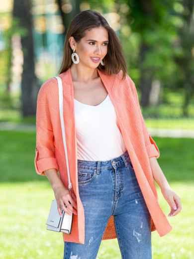 Вязаный кардиган oversize персикового цвета со шлевками - 38748, фото 2 – интернет-магазин Dressa