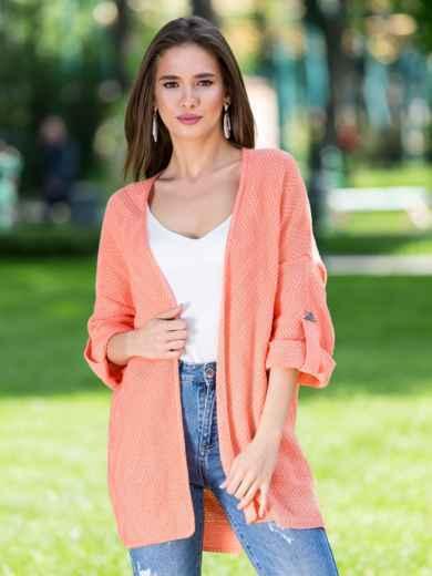 Вязаный кардиган oversize персикового цвета со шлевками - 38748, фото 3 – интернет-магазин Dressa