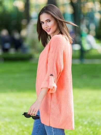 Вязаный кардиган oversize персикового цвета со шлевками - 38748, фото 5 – интернет-магазин Dressa