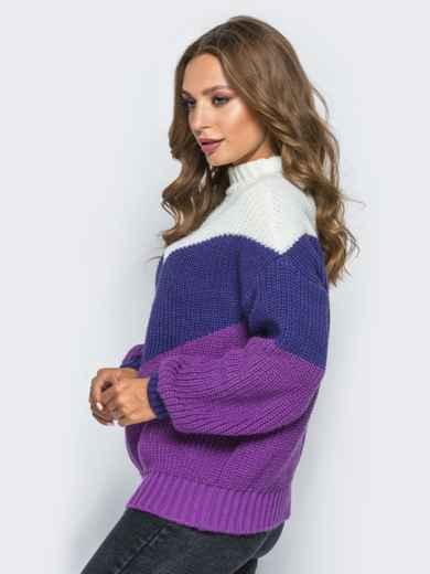 Вязаный свитер oversize с сиренево-синими полосами - 15979, фото 2 – интернет-магазин Dressa