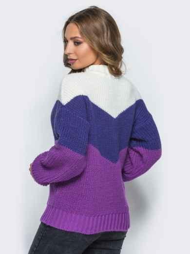 Вязаный свитер oversize с сиренево-синими полосами - 15979, фото 3 – интернет-магазин Dressa
