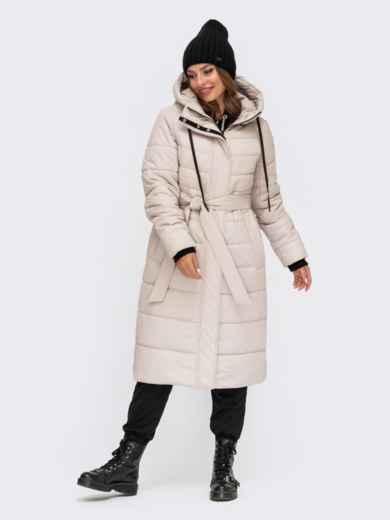 Зимняя удлиненная куртка молочного цвета с вшитым капюшоном 55609, фото 1