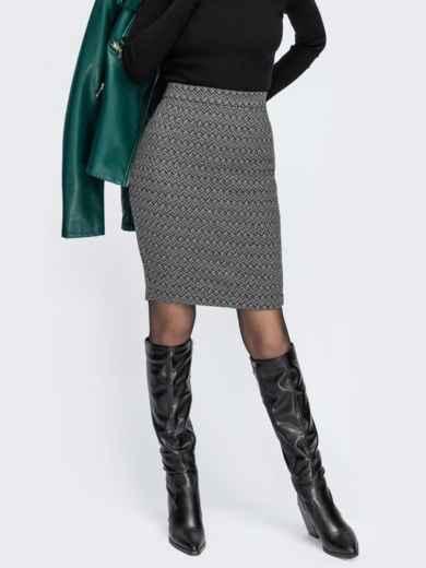 Серая юбка-карандаш из жаккарда с узором 55324, фото 1