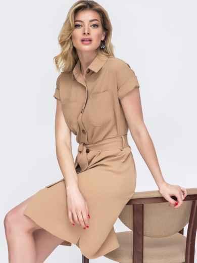 Бежевое платье-убашка с удлиненной спинкой 48495, фото 1