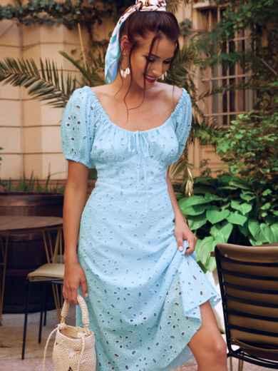 """Голубое платье-клеш из прошвы с рукавами """"фонариками"""" 54502, фото 1"""