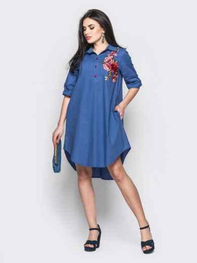 Короткое платье-рубашка с нагрудной вышивкой синее - 12520, фото 2 – интернет-магазин Dressa