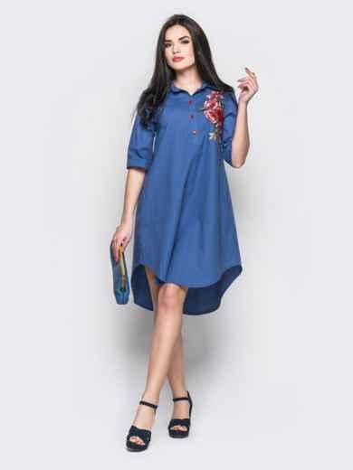Короткое платье-рубашка с нагрудной вышивкой синее - 12520, фото 3 – интернет-магазин Dressa