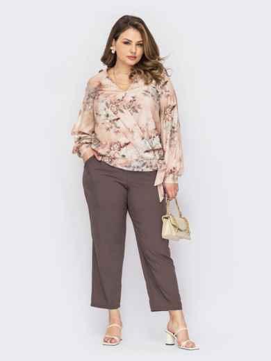 Костюм из блузки и брюк пудрового цвета батал 53830, фото 1