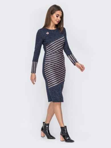 Приталенное платье синего цвета со вставками в полоску 44132, фото 2
