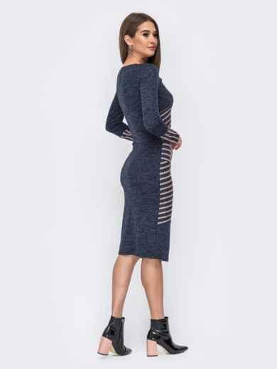 Приталенное платье синего цвета со вставками в полоску 44132, фото 3