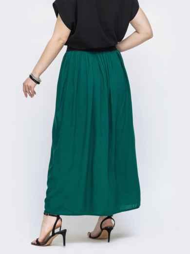 Расклешённая юбка-макси большого размера зеленая 46012, фото 2