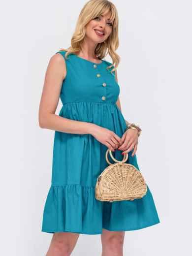 Расклешенное платье с завышенной талией бирюзового цвета 48493, фото 1