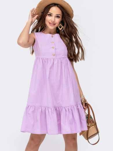 Расклешенное платье с завышенной талией фиолетового цвета 48494, фото 2