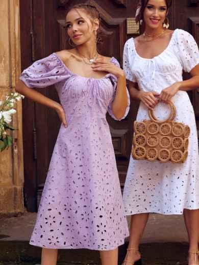 """Сиреневое платье-клеш из прошвы с рукавами """"фонариками"""" 54504, фото 1"""