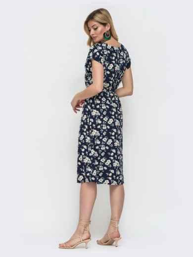 Тёмно-синее платье с принтом и резинкой в поясе 48482, фото 2