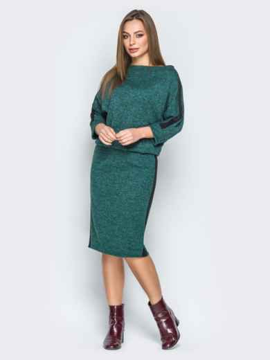 Зеленое платье с напуском и лампасами - 19245, фото 2 – интернет-магазин Dressa
